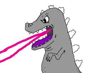 godzilla shooting lasers out of its mouth