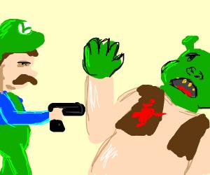 Luigi shoots shrek