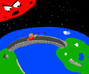 Red planet angry at a man on a bridge
