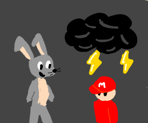 Bugs bunny bringing the thunder on Mario