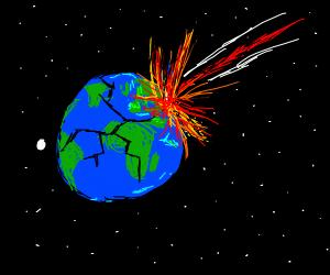 An asteroid strikes Earth
