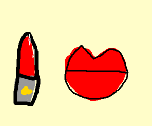 Lipstick is applied on lips without a body