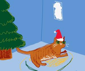 big chonker of a cat with a santa hat (unit)