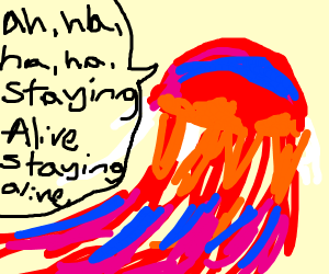 Jellyfish sings stayin alive