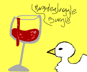 a wine glass of talking blood and a duck
