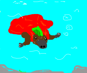 platypus with green mohawk and red cape