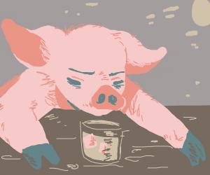 pig contemplates life at bar