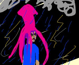 Squid person in a rain dtorm