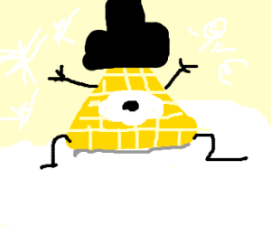 Bill Cipher in the snow