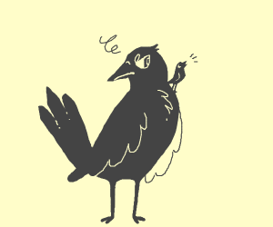 Big crow annoyed  by little crow on his shoul