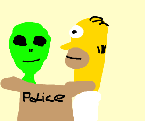 alien and simpson with police box