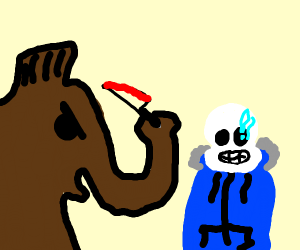Wooly mammoth attacking sans