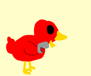 a bird shooting a gun