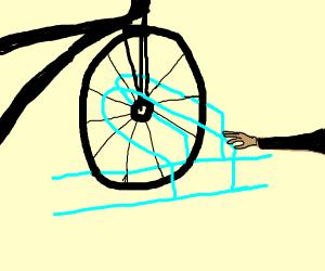 guy place hands on bike racks