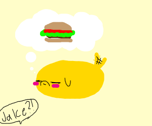 Jake the dog dreaming about a burger