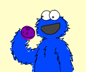 Cookie Monster with Purple cookie