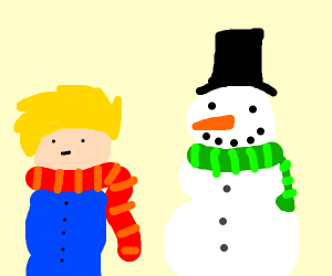 Blond guy and happy snowman