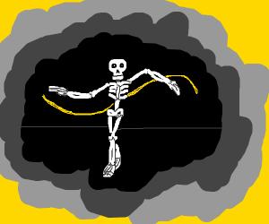 Skeleton breakdancing doing the arm wave