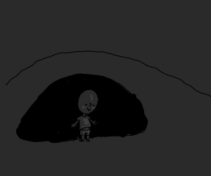 Standing in front of a dimly-lit cave