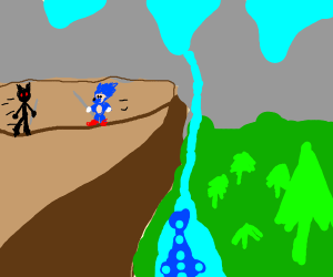 Battling Sonic on a cliff