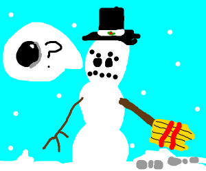 A snowman lost his buttons