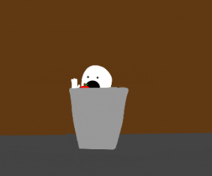 man eating fruits in the trash