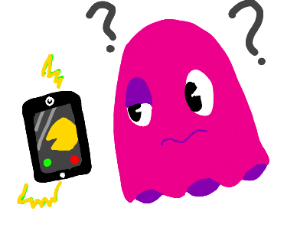 Pac-Man ghosts intrigued by phone
