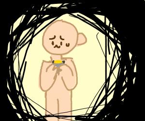 holding a flashlight