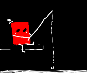 Red block man fishes in pond