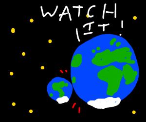 mini each crashing into big earth