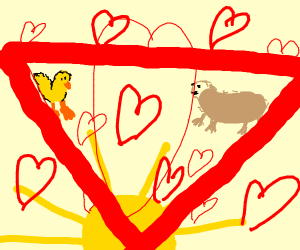 love triangle with a otter, duck,and the sun.