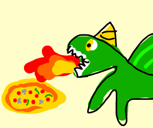 dragon cooks a pizza