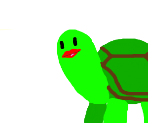 A turtle with luscious red lips