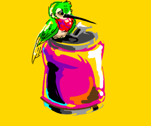 Beautiful bird with a cup of soda