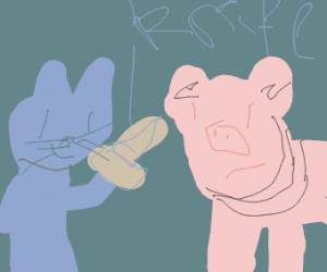 A pig and a cat fight (with knives)