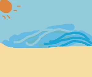 The sun shines on a beach