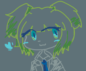 Cute green blue girl