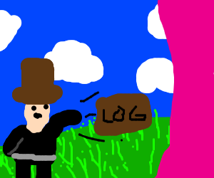 Man with brown hat throwing log into the pink