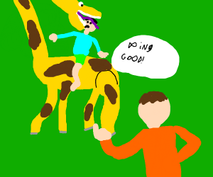 Father complimenting son on giraffe-riding