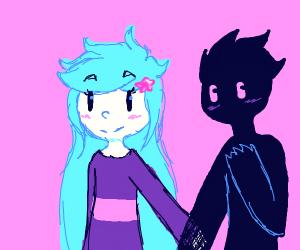 Gril holds hands with secret stalker