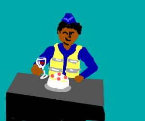 Police man celebrates