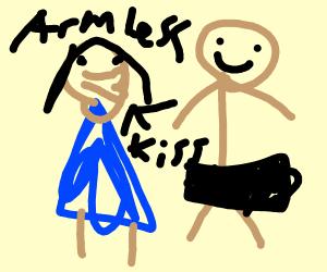 Armless lady kisses naked (censored) man