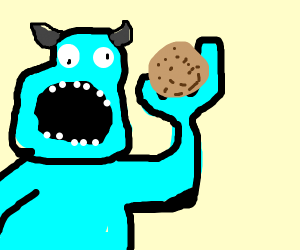 monsta eating biscut