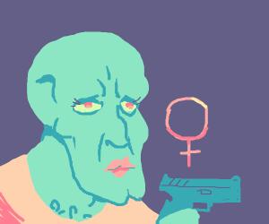 Female handsome squidward pulls out a gun