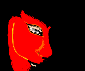 close-up of a guy with a red mask