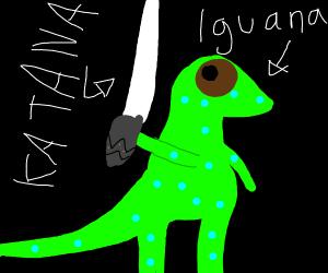 Iguana with a katana