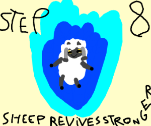 Step 7: Sheep dies from overwhelming power