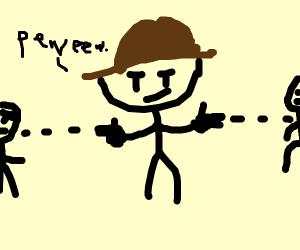 cowboy with fingerguns
