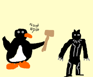 Pingu Kills Black Panther With a Mallet