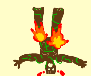 Upside down tree person is on fire